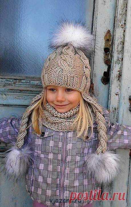 связать шапочку с ушками спицами для девочки 5-6 лет   Вязана.ru