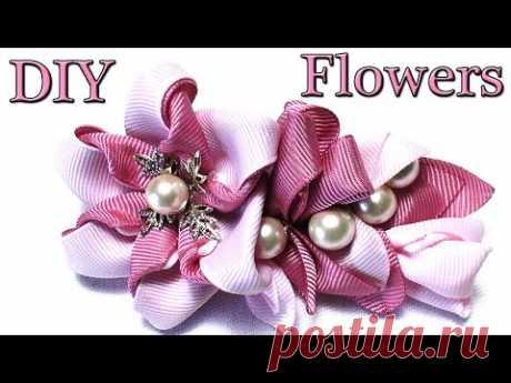 How to make Ribbon Flowers  | DIY Kanzashi Flower tutorial | Цветы из Лент