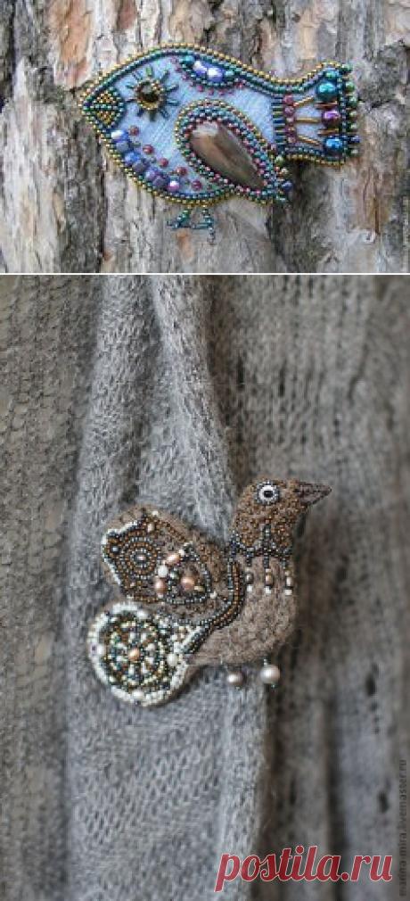 Купить войлочная птичка брошь,серия Сказочный лес. - коричневый, брошь, птичка-брошка | украшения | Brooches, Felting and Beads