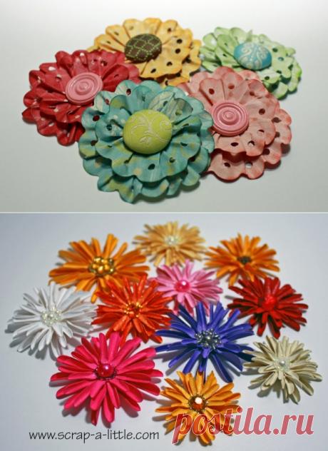Цветы из бумаги своими руками с помощью дыроколов для скрапбукинга