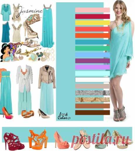 БЛЕДНО-БИРЮЗОВЫЙ цвет (правильное сочетание цветов в одежде)  Рассмотрите сочетание с персико-розовым, кармином, золотисто-желтым, розовым коралловым, оранжево коралловым, цветом морской волны, холодным оттенком зеленого, небесно голубым, бордовым, лавандовым, аквамарином, бежевым, серебряным, золотым, бронзовым, коричневым. Украшения: розово-оранжевый коралл, ракушки, жемчуг, золото и серебро. Желательно не использовать прозрачные камни.
