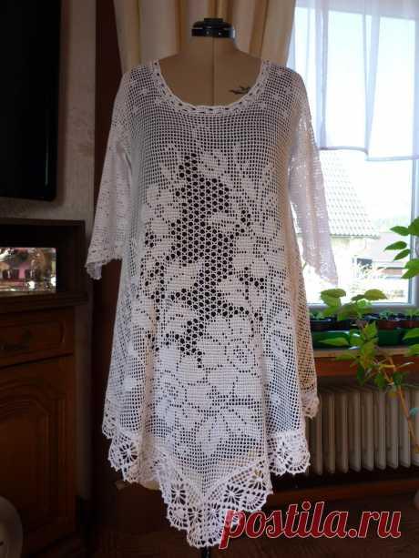 Филейное вязание крючком . — Наши творения -одежда в филейной технике (Обязательно подписывайте фото )   OK.RU
