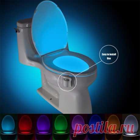 Светильник для туалета, водонепроницаемый с датчиком движения, 8 цветов|night lamp|toilet lampsensor light | АлиЭкспресс