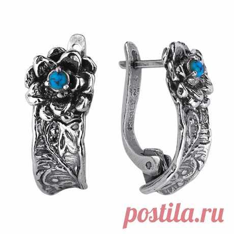 Серебряные серьги Yaffo с бирюзой SAE1188 - Женские украшения