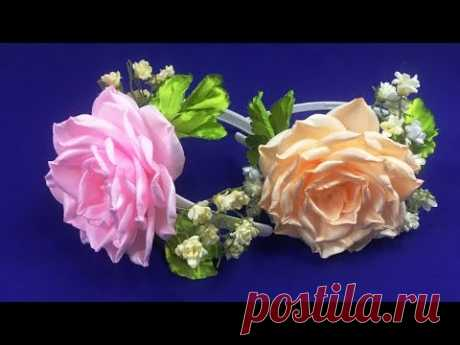 Ленты роза и гипсофила / Роза и гипсофила де синтас / Роза и гипсофила из лент