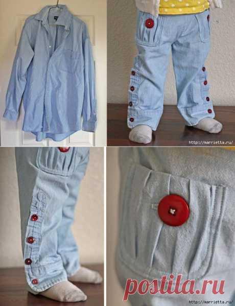 Часть I. Шьем детские штанишки из рукавов папиной джинсовой рубашки…. | Лучшие ручные работы