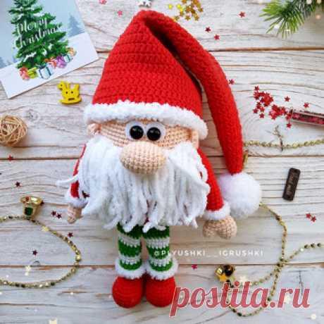 Новогодний гномик амигуруми. Схемы и описания для вязания игрушек крючком! Бесплатный мастер-класс от Татьяны Поддубской по вязанию новогоднего гномика крючком. Высота вязаной игрушки около 25 см, учитывая ножки. Для изготовл…