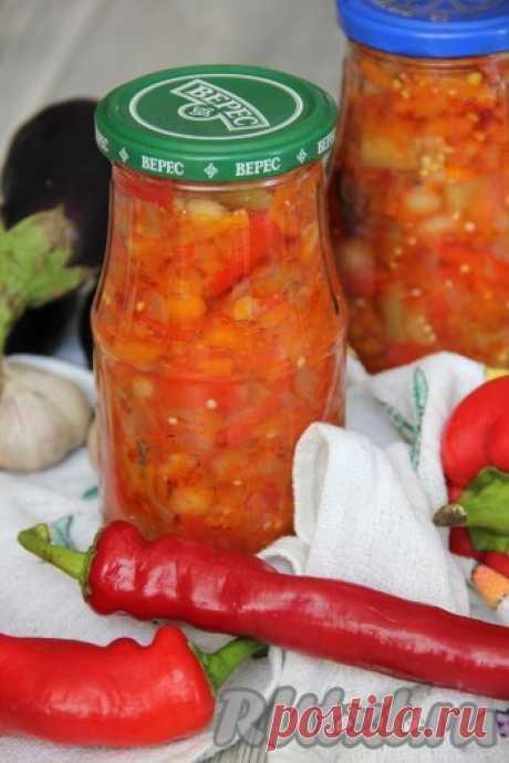 La receta de la ensalada de las berenjenas con la judía para el invierno. Salatik resulta sabroso e interesante, gracias a la judía que forma parte.