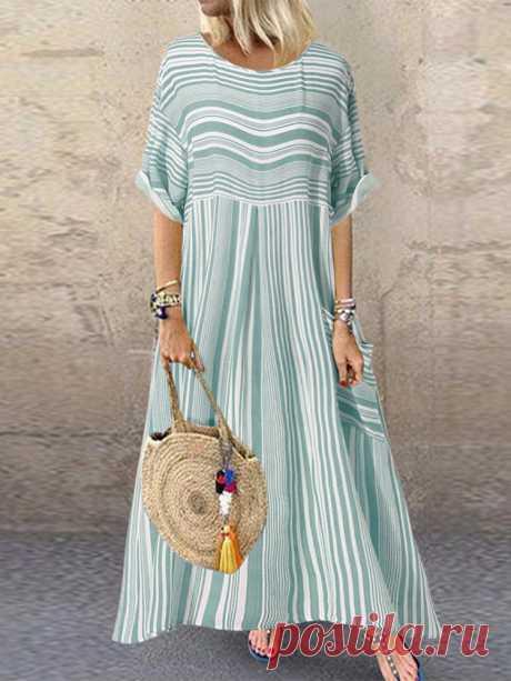 Fashion O-NEWE Повседневное платье в полоску с длинными рукавами и карманом макси {- NewChic Русский