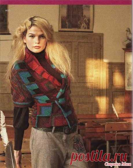 """Jacket a patchwork \""""A stylish mosaic\"""" - Knitting by spokes - the Country of Mothers"""