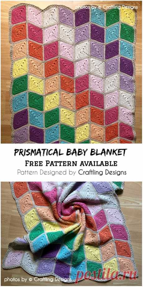 Cozy Crochet Prismatical Baby Blanket #crochetforchildren #crochetbabyblanket #crochetpatternfree