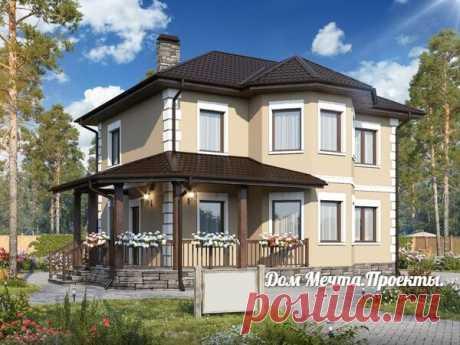 Проект дома. Площадь:154 м2 Размеры:9x10 м 4 спальни, кабинет