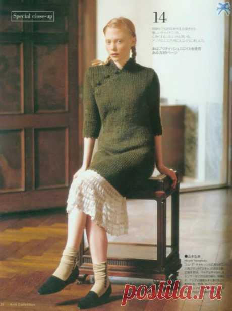 时尚的七分袖旗袍的织法图解-编织乐论坛