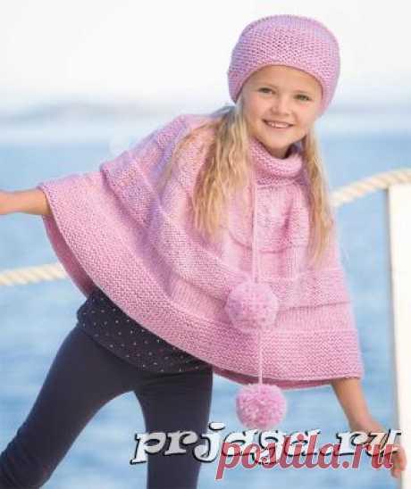 Весенняя шапка и пончо для девочки спицами