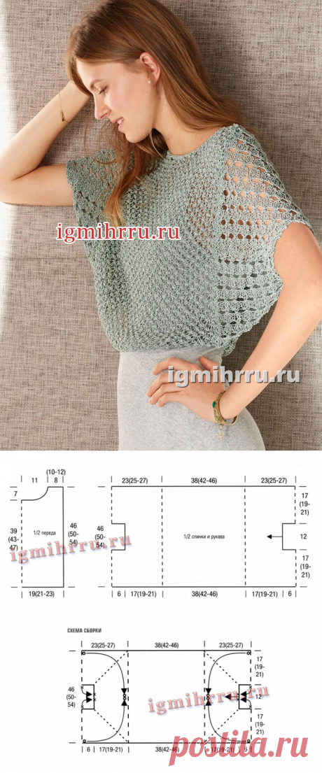 """Easy gray-green pullover with sleeves \""""bat\"""". Knitting by spokes"""