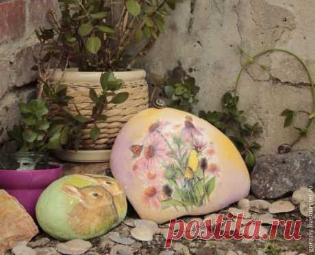 Декупаж Камней. Идея декора для сада - Ярмарка Мастеров - ручная работа, handmade