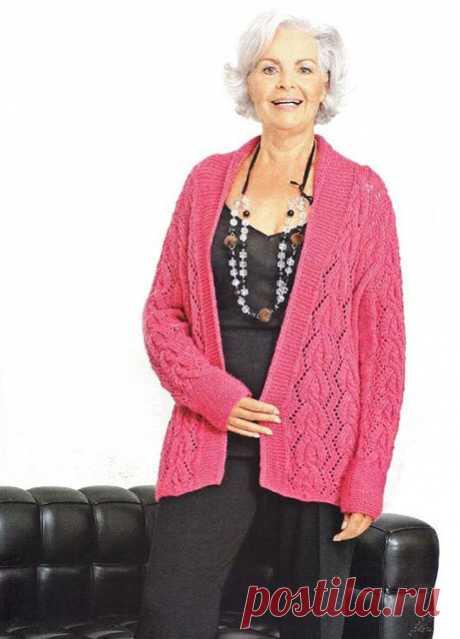 Красивая кофта для полных женщин всех возрастов спицами № 5 Малинка – схема вязания с описанием