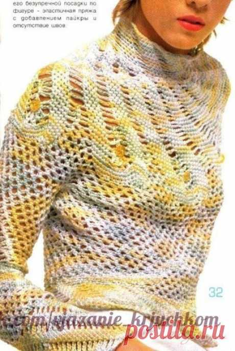 Jumper with the spiral coquette \/ Unusual hand-made articles