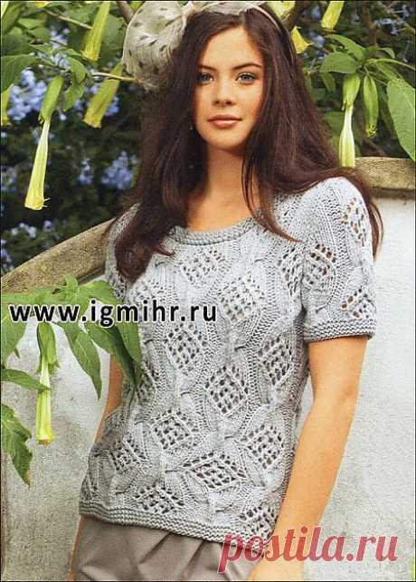 Серебристо-серый пуловер с короткими рукавами (вязание спицами)