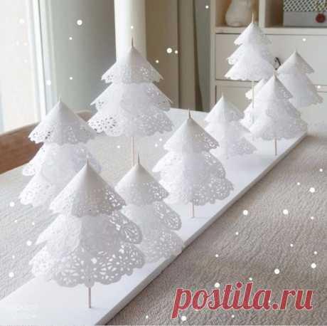 Запись на стене Вот такой нежный зимний лес вы можете сделать из простой белой бумаги