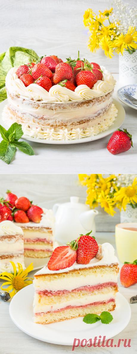 Рецепт клубничного торта с двумя кремами на Вкусном Блоге