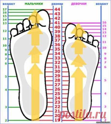 Таблица размеров стоп для детей. Полезная информация для вязания носков и пинеток