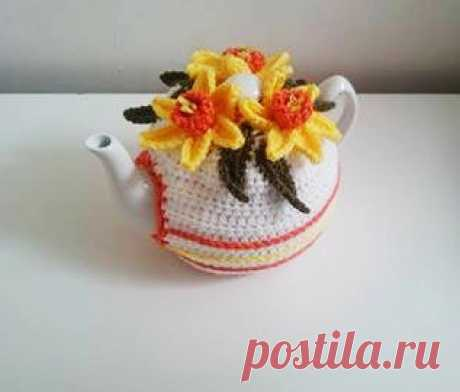 Daffodil Tea Pot Cozy 6 Cups Spring Easter Crochet от BezCreations