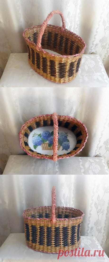 Эта корзина удобна как для походов за грибами и на рынок, так и для интерьера кухни и дома. В плетении этих корзин использован декоративный шнур.