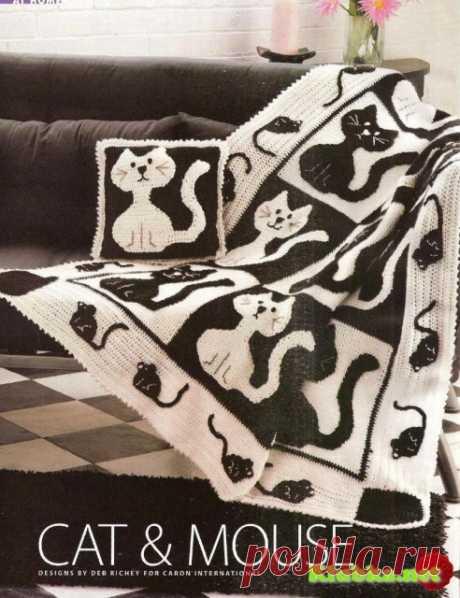 """Любителям вязания и кошек - шикарный плед """"Кошки-мышки"""""""