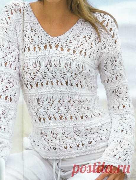 Ажурный свитер спицами «Морской прибой» - Колибри Интересная модель летнего свитера спицами, который станет незаменимой вещью на курорте. Смотрится эт