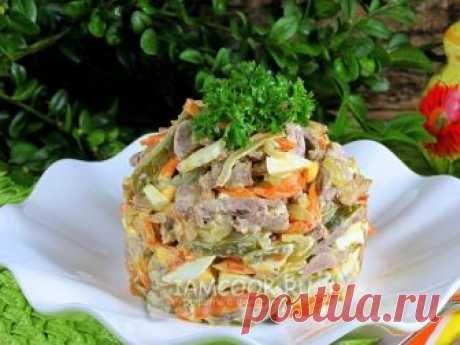 Салат с сердцем и грибами — рецепт с фото Этот салат - прекрасное дополнение к повседневному обеду, но тем не менее прекрасно подходит на праздничный стол. Он и сытный и вкусный!
