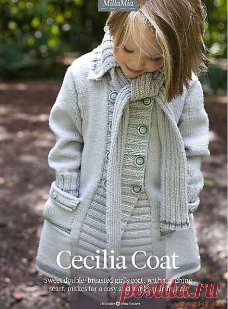 Пальто для девочки.Спицами.