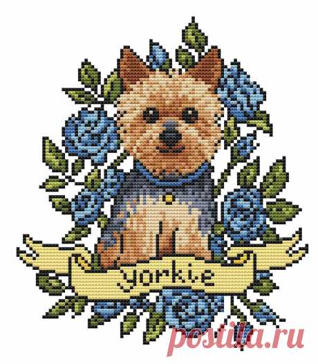 Yorkie Dog cross stitch pattern PDF/ yorkshire terrier | Etsy