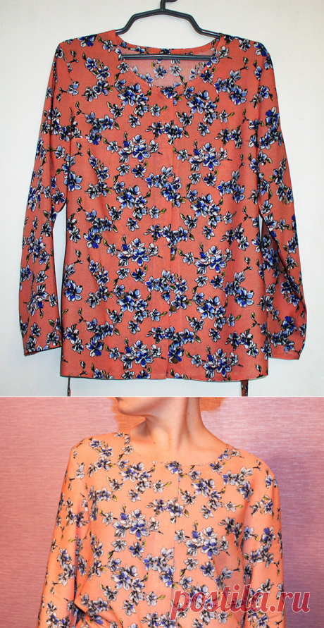 Свободная блузка. Порядок от выкройки до готовой вещи
