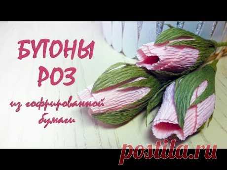 Бутоны роз из гофрированной бумаги / Цветы из бумаги своими руками