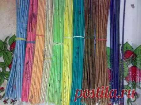 Как и чем красить трубочки для газетного плетения