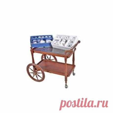 !!!Indonesian Tea Cart Hand inlaid brass and carved interior panel. Includes two porcelain tea sets.Han
