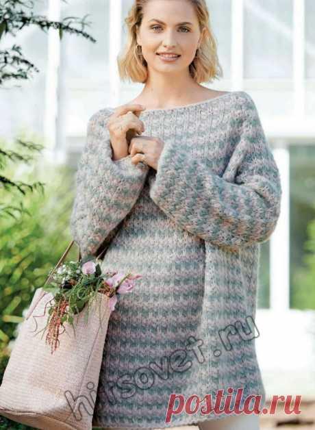 Полосатый пуловер оверсайз