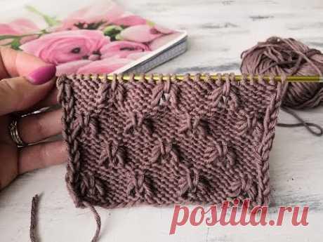 Простой, интересный, рельефный узор спицами для вязания свитера, джемпера, топа, майки - YouTube