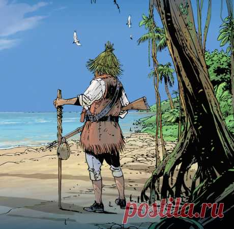 """Иллюстрация к книге """"Робинзон Крузо"""", рассказывающей о человеке, который оказался на необитаемом острове после кораблекрушения."""