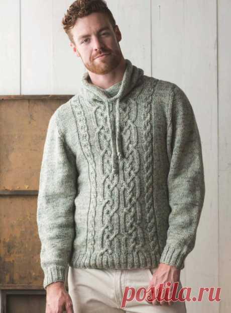Мужской свитер с капюшоном спицами — HandMade