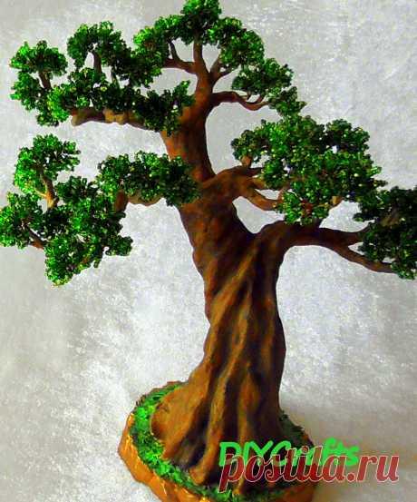 """В этом мастер-классе создаем """"Бонсай"""" своими руками. Часть первая. Плетем ветки для дерева и формируем ствол дерева. Высота дерева 28 см. Bonsai Leaves. Bonsai handmade / Part 1"""