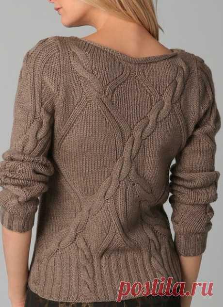 Пуловер с аранами. Необычно и актуально