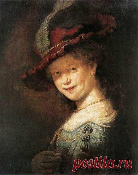 Портрет Саскии ван Эйленбюрх - Рембрандт. 1633. Дуб, масло. 52,5x44,5. Около 1631-1632 Рембрандт (1606-1669) навсегда переехал в Амстердам. Он поселился в одной из комнат торговца картинами Гендрика ван Эйленбюрха, у которого уже жила дочь его родственника, Саския ван Эйленбюрх. Молодые люди полюбили друг друга и через два года поженились.