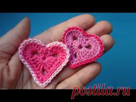 How to knit Crochet heart Valentine's Day card the Lesson 327