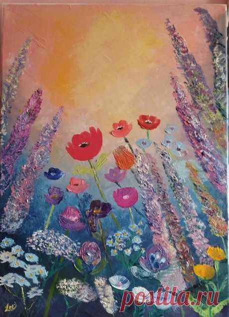 Полевые цветы.   Мастер класс Татьяны Букреевой. В середине мк пошел не по плану, было нарисовано много других цветов) Сейчас все смотрится очень наивно.