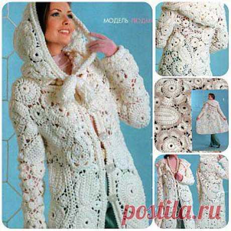 Вязаное пальто. Белое вязаное крючком пальто. | razpetelka.ru
