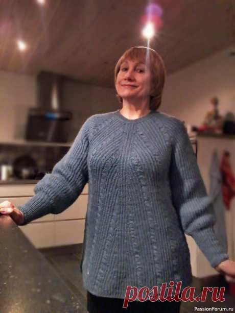 Тёплый пуловер полупатентной резинкой   Вязание для женщин спицами. Схемы вязания спицами