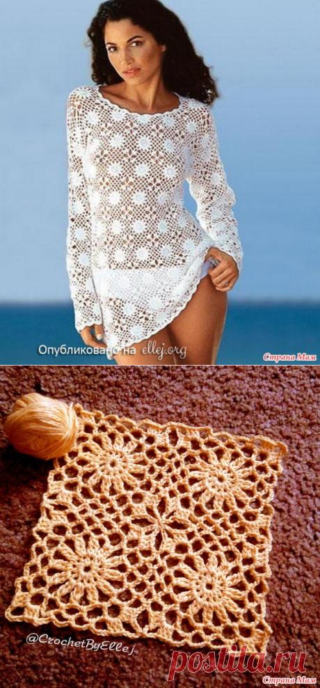 . Безотрывное вязание ажурных квадратных мотивов для пляжной туники. Видео МК - Вязание - Страна Мам