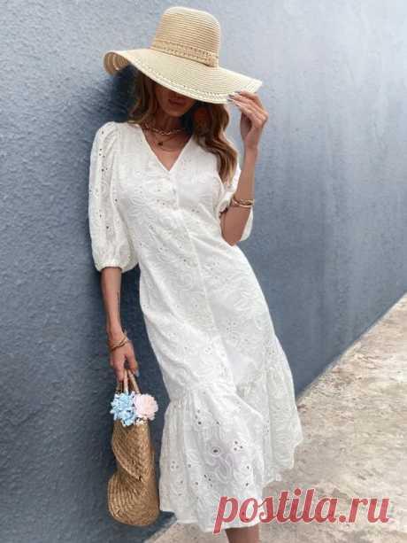 Платье с кружевной отделкой на пуговицах | SHEIN Россия